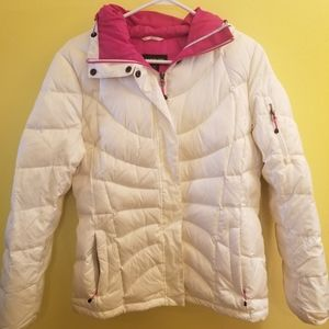 Lands End White and Pink Hooded Puffer Jacket S
